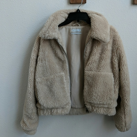 Urban Outfitters Jackets Coats Cropped Teddy Jacket In Natural